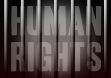 Human rights. Text Human rights behind jail bars Vector Illustration