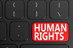 Human Rights on black keyboard. 3D rendering Stock Images