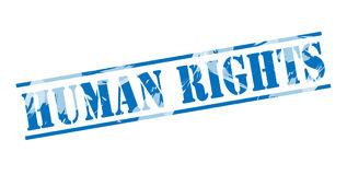 Human rights blue stamp. Isolated on white background Royalty Free Stock Photos