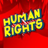 Human Rights - Comic book style words. Human Rights - Vector illustrated comic book style phrase on abstract background stock illustration