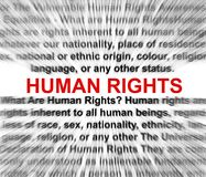 Human rights concept. Definition blurred radially but readable Royalty Free Stock Photo