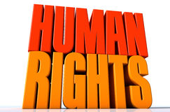 Human rights. 3d design of a two words with very much colorful Royalty Free Stock Images