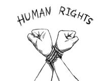 Human Rights Day concept. illustrator sketching of human hands were tied with a rope with text human rights.  stock illustration