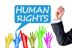 Human rights lawyer writing on white background Stock Image