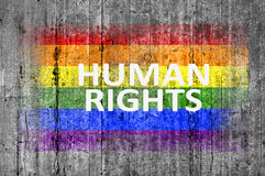 Human Rights and LGBT flag painted on background texture gray concrete. Close stock photography