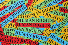 Human rights. Pile of colorful paper notes with words Human Rights. Human rights concept stock photography