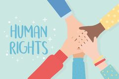 Human Rights, Raised Hands Unity Stock Image