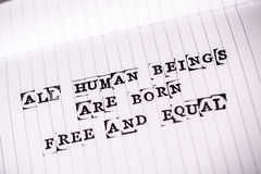 Human rights text on paper Royalty Free Stock Photography