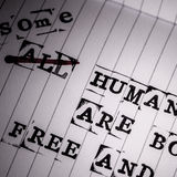 Human rights text on paper Royalty Free Stock Images