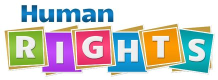 Human Rights Colorful Blocks. Human rights text written over colorful background Stock Photography