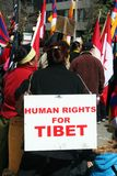 Human Rights for Tibet. A group of demonstrators protesting China's occupation outside the Chinese Embassy in Toronto, Ontario, Canada on March 28, 2009 Royalty Free Stock Images