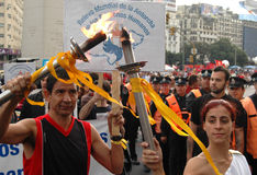 Human Rights Torch. In Buenos Aires. The Olympics and Crimes Against Humanity Cannot Coexist in China Royalty Free Stock Photo