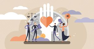 Human rights vector illustration. Tiny equal and variety persons concept. Human rights vector illustration. Flat tiny equal and variety persons concept. No royalty free illustration