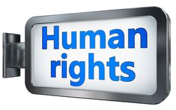 Human rights on billboard background. Human rights wall light box billboard background , isolated on white Stock Image