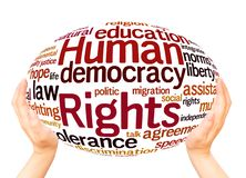 Human Rights word cloud hand sphere concept. On white background stock photo