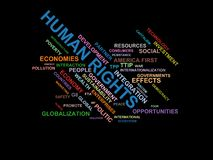 HUMAN RIGHTS - word cloud wordcloud - terms from the globalization, economy and policy environment Royalty Free Stock Image