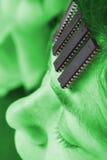 Human robot - Artificial intelligence. Computer chip brain in human. Artificial intelligence in micro chips. AlienTechnology concept