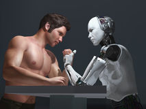 Human-robot competition Royalty Free Stock Photography