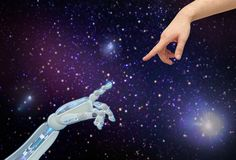 Human and robot hands over space background. Future technology and artificial intelligence concept - close up of human and robot hands over space background Stock Image