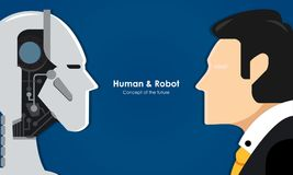 Human and robot. Concept of interaction with artificial intelligence. Vector illustration Stock Photo