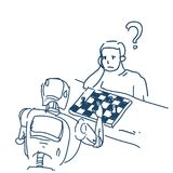 Human and robot playing chess fight artificial intelligence over white background sketch doodle. Vector illustration Royalty Free Stock Photography