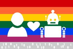 Human and robot relationships. LGBT flag Stock Photo