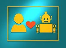 Human and robot relationships. Stock Photos