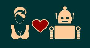 Human and robot relationships. Royalty Free Stock Images