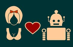Human and robot relationships. Royalty Free Stock Image