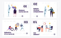 Human and Robot Website Landing Page Templates Set. Concept of Interaction with Artificial Intelligence. Robotics in People Life royalty free illustration