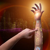 The human robotic hand in futuristic concept Stock Photography