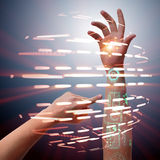 The human robotic hand in futuristic concept Royalty Free Stock Images