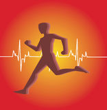 Human running. With a heart beat graph at background Stock Image