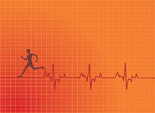 Human running. With a heart beat graph at background Royalty Free Stock Image