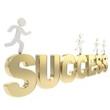 Human running figures over the word Success Royalty Free Stock Images