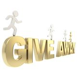 Human running figures over the words give away. Compete for the free give away: group of human symbolic figures running over the golden word isolated on white Royalty Free Stock Photo