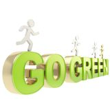 Human running figures over the words go green Royalty Free Stock Photos
