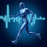 Human running man active runner energy medical. Human running man representing an active runner with a medical health and healthcare symbol Vector Illustration