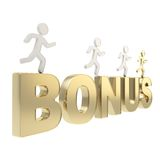 Human running symbolic figures over the word Bonus Stock Photos