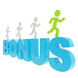 Human running symbolic figures over the word Bonus Stock Images