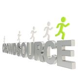 Human running symbolic figures over the word Crowdsource Royalty Free Stock Photography