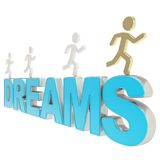 Human running symbolic figures over the word Dreams Royalty Free Stock Images