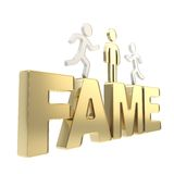 Human running symbolic figures over the word Fame Stock Photo