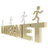 Human running symbolic figures over the word Internet Stock Photo