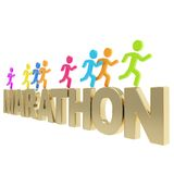 Human running symbolic figures over the word Marathon Stock Photos