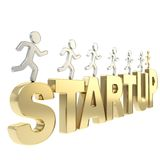 Human running symbolic figures over the word Startup Stock Image