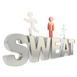 Human running symbolic figures over the word Sweat Royalty Free Stock Photos