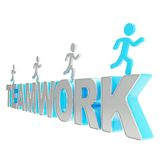 Human running symbolic figures over the word Teamwork Stock Photography