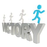 Human running symbolic figures over the word Victory Royalty Free Stock Photo