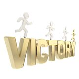 Human running symbolic figures over the word Victory Stock Photo